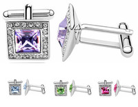austrian crystal costume jewelry - Mens Crystal Cufflinks High Quality Austrian Crystal Elements Fashion Brand Cuff links White Gold Plated Costume Jewelry