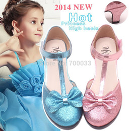 Wholesale New Glitter Children Shoes Princess Girls Shoes Fashion High Heel Wedding Shoes Different Color