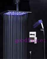 Wholesale and retail promotion NEW quot Rain Ceiling Mounted Shower Set Faucet Shower Head With Led Light Chrome