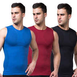 Wholesale-Men Slimming Body Shaper Vest Belly Tummy Waist Girdle Shirt Shapewear Underwear Free Shipping