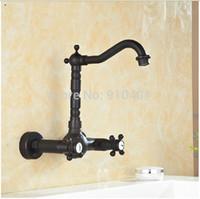 Cheap Wall Mounted Oil Rubbed Bronze Bathroom Basin Faucet Dual Cross Handles Sink Mixer Tap Swivel Spout Mixer Tap