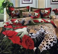 Cheap cotton luxury queen king size 3d bed set bedding set bedclothes Animal Lion tiger leopard duvet cover bedspread bedding-set