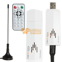 Cheap Wholesale-Mini Digital USB 2.0 Analog Signal TV Stick Box Worldwide TV Tuner Receiver FM Radio with Remote Control for PC Laptop