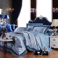 Cheap Brand designer bedding set 4pc blue color lace edge bed cover jacquard duvet cover bedclothes king queen size