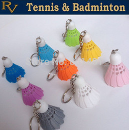 Wholesale High quality Mini badminton shuttlecock key chain keychain keyring PVC Souvenir