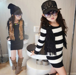 Wholesale-The new children's clothing autumn suede fringed vest solid color vest without deduction Autumn 2015 children girls