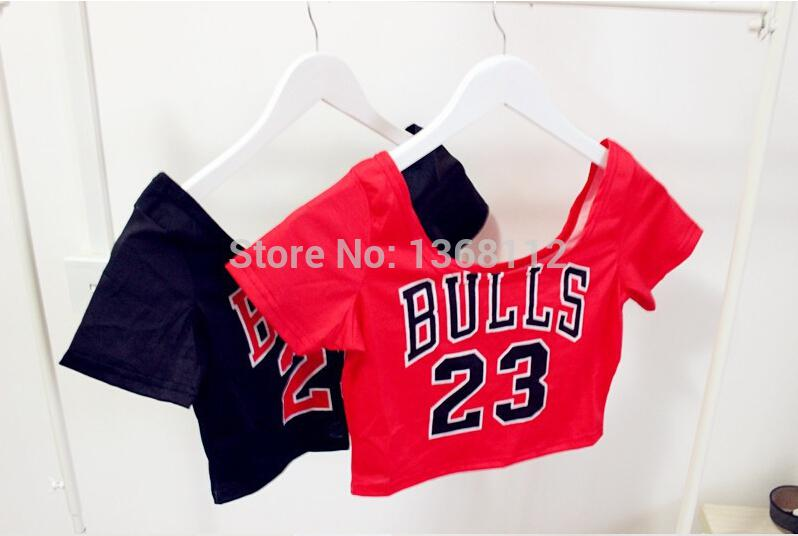 Wholesale-free shipping opposite season loss clearance bulls 23 women clothing girl tank top tee camis t shirt red black blusas crop top