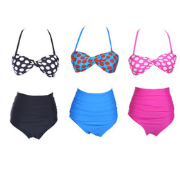 Wholesale-New 2015 Cutest Bikinis Two Piece Swimsuits Vintage Pin Up Swimwear Swimsuit High Waist Bikini Set Women Bathing Suits