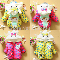 Cheap Wholesale-Baby Girls Thicken Hoodie Snowsuit Kids Polka Dot Soft Plush Outwear Jacket Coat
