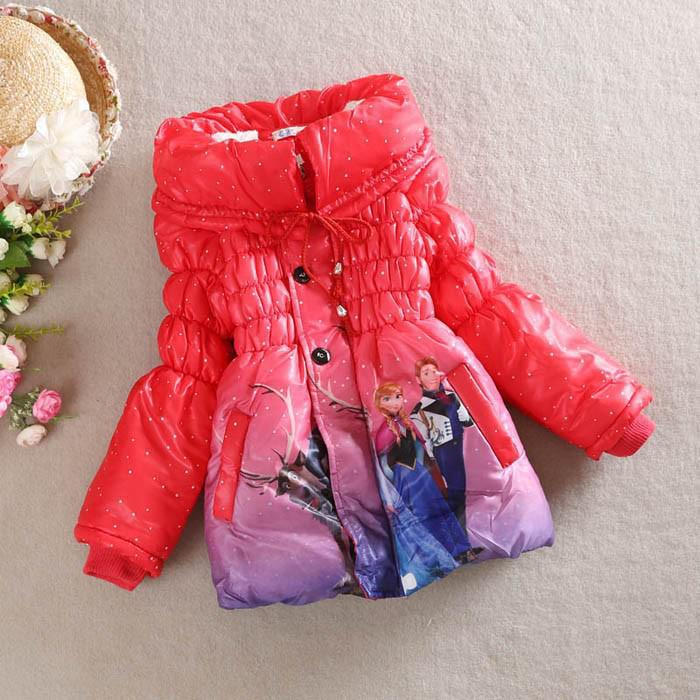 Wholesale-2015 New Girls Frozen Coat Baby Winter Long Sleeve Warm Jacket Children Cotton-Padded Clothes Kids Outwear Free shipping