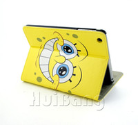 Cheap Wholesale-Cheap Sale Cute Cartoon Baby Spongebob Ultra Slim Flip Stand Leather Case Smart Cover For Apple Ipad Mini 1 2 Retina Bags PT85