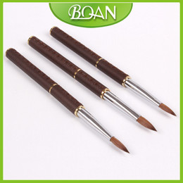Wholesale Retail Nail Tool Nail Acrylic Brush Pure Kolinsky Professional Leather Handle Painting Brush Nail
