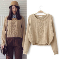 Cheap Wholesale-New Women Hot Retro Twist Round Neck Knitted Pullover Jumper Loose Batwing Short Sweater Knitwear