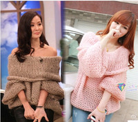 Wholesale Lady Inspired Chunky Fuzzy Oversized Off Shoulder Loose Knitted Sweater Jumper Women Pullovers Sknitwear Spring Winter Fashion