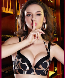 Wholesale Hot Sexy Leopard Push Up Side Support Plunge Detachable Halter Gel Padded Bra