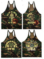 camouflage tank top - NPC bodybuilding thin camouflage Tank tops with the word GOLD POWERHOUSE Hurdle VEST