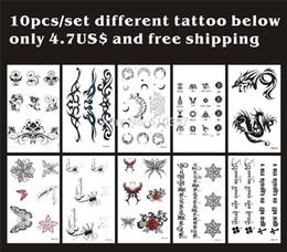 5b483eaaf Wholesale-10pcs lot,Temporary Tatoo Sticker  Flower,Rose,butterfly,moon,dragon,Tibetan,english letter waterproof,fake  tattooing body art CE