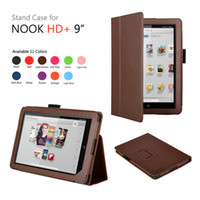 Cheap Wholesale-Folio Leather cover case for For Barnes&Noble Nook HD + 9 inch tablet pc leather case