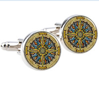 antique tie clips - pair High quality Vintage Compass Cufflinks Round Glass Compass Photo Cuff links for men and women Antique picture jewelry