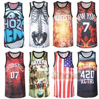 Cheap Wholesale -Hot 2015 men 3D Print gym Clothes sport Tank tops