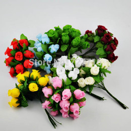 Wholesale-Cheap flower 1.5-2cm Artificial silk rose flowers with green wire stem for Head Bands 144pcs lot