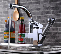 kitchen faucet spray - Chrome Brass Pull Out Spray Kitchen Sink Faucet One Hole Mixer Tap