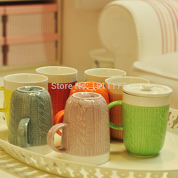 Wholesale New Arrival Heat Porcelain Cup Mug Wood Texture Sweater Modern Style Dinnerware Christmas Gift