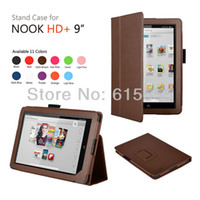 Cheap Wholesale-11 Colors available! upgrade stand leather case cover pouch for Nook HD+, 1pcs lot. Free shiping