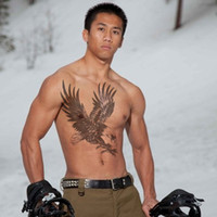 art eagles - Men temporary tattoo stickers waterproof large eagle wings full back chest shoulder arm body art makeup