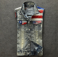 Wholesale New fashion mens denim vest colete masculino plus size sleeveless jacket waistcoat jean vest for men american flag tank top