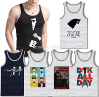 Cheap Wholesale-Fashion Men Tank Top Winter Is Coming star wars bruce lee Ramones Breaking Bad DGK Girl Fuck Sleeveless Shirts Sports Man Shirt