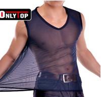 Cheap Wholesale-transparent vest for men color T shirt vest men's thin silk vest underwear