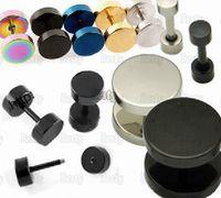 black stainless steel studs - 20pcs Men Women Barbell Punk Gothic Stainless Steel Ear Studs Earrings Golden Black Silver Fashion Gift Items