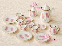 coffee pot tea - OF PINK DAISY Dollhouse Miniature porcelain China Coffee Tea Lid Pot Cups DC62