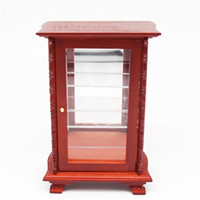 wood mirror - Miniature Wood Display Cabinet Mirror Shelving Dollhouse For Orcara Re ment Toys Doll Accessories Miniature Furniture Toys