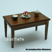 wood furniture kitchen - Miniature Wood Display Dining Table Kitchen Furniture Dollhouse Fit Orcara Toys Doll Accessories Wooden Dollhouse Furniture