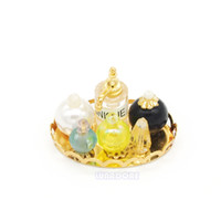 Wholesale Miniature Dollhouse Perfume Piece Set Miniatures Gold Tray Doll House Kid Toys Accessories Gift for Deceration