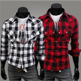 Wholesale-Blouse New hot Apparel Long Sleeve Shirt men shirts fashion mens tops 4 size red black Casual Checkered Button Up