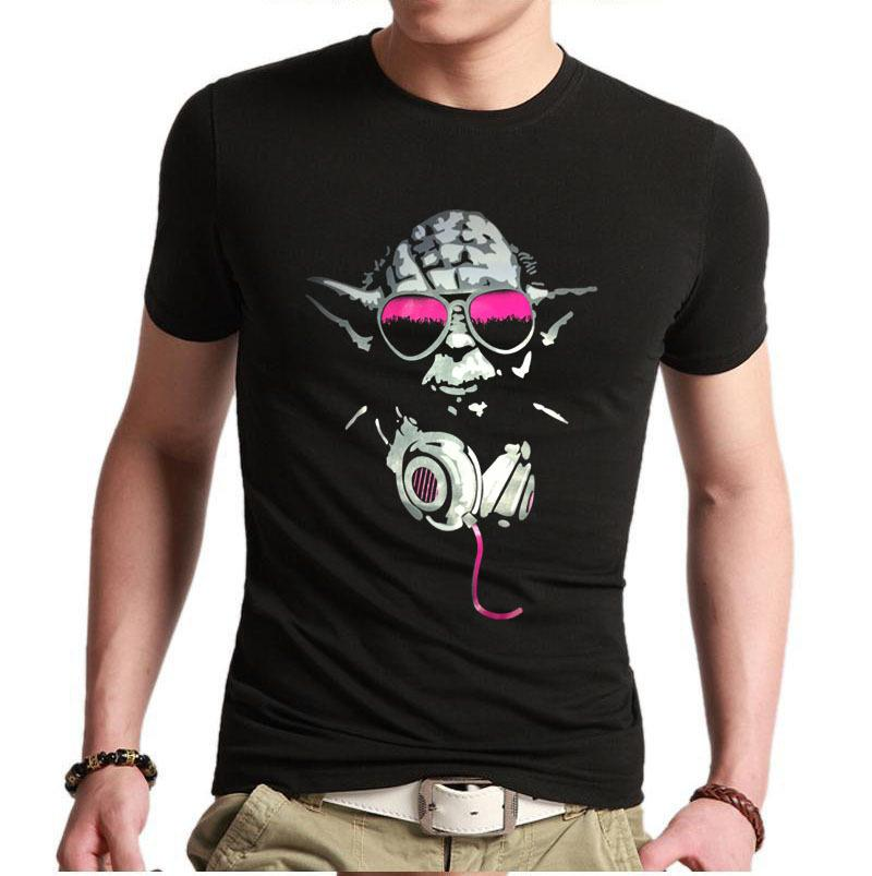 Wholesale great gift mens custom t shirts yoda cool dj hip for Custom shirts and hoodies cheap