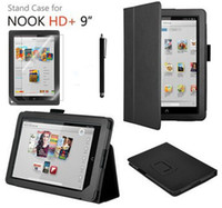 "Cheap Wholesale-3in1 For Barnes & Noble Nook HD+ 9"" Stand Leather Cover Case Magnetic + Screen Protector Film + Pen"