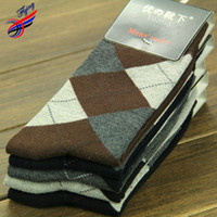 argyle socks men - FLYING Fashion Winter Design Men s Socks Warm Big Argyle Printed Full Cotton Elasticity Sock Dress For Business Men thermal