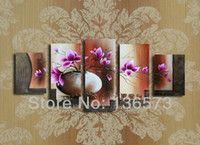 Cheap Handmade flower painting canvas vases decoratives home 5 panel art sets landscape modern abstract wall pictures for living room
