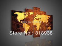 Cheap Framed 100% Hand Painted 5 panel world map group oil painting canvas art home decoration wall art Free shipping AF445