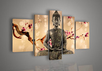 Cheap 5 Panel Wall Art Religion Buddha Oil Painting On Canvas Paintings Contemporary Bistro Tables For Home Modern Decoration FH078