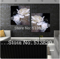Cheap 2 Piece Hot Sell Modern Wall Painting white Flowers Home Decorative Art Picture Paint on Canvas Prints free shipping