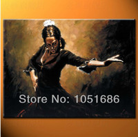 Cheap Hand Painted One Panel Modern Abstract Flamenco Dancer Oil Painting On Canvas Wall Art For Home Decoration Picture Set Unframed