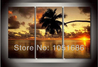 Cheap Handmade Modern 3 Panel Ocean Canvas Art Seascape Sunset Painting Coconut Oil Picture Wall Decor Living Room No Framed For Sale