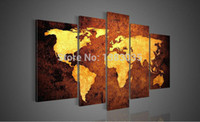 Cheap Hand Painted Canvas World Map Wall Art Large Oil Paintings Set 5 Piece Decoration Home Modern Abstract Picture