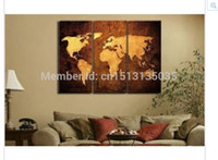 Cheap 3PC Hot Modern Abstract Art World Map Wall Decor Oil Painting Canvas