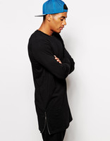 Wholesale men s longline tall t shirt with zip detail t shirt for men long cut tee shirts men